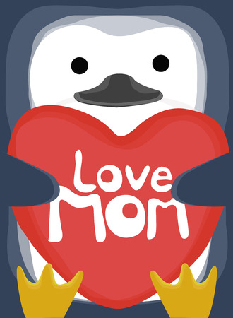 love mom: colecci�n amor animal, poco madre amor del ping�ino Vectores