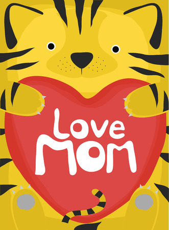 love mom: colecci�n amor animal, poco madre amor tigre Vectores