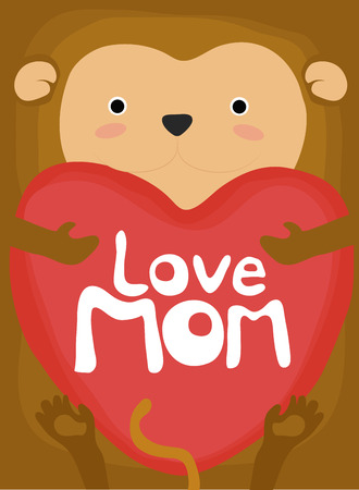 animal love collection, little monkey love mom