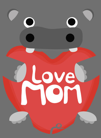 love mom: colecci�n amor animal, hipop�tamo poco amor mam� Vectores