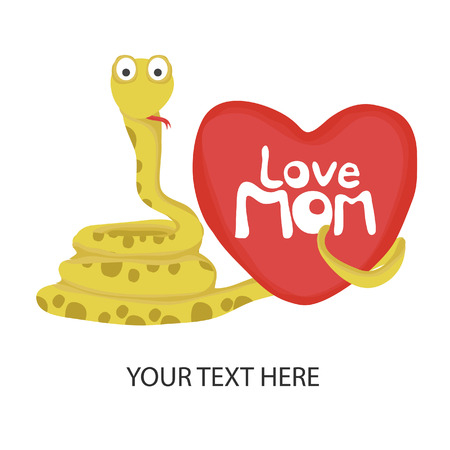 love mom: colecci�n de tarjetas de animal, feliz serpiente amor mam�