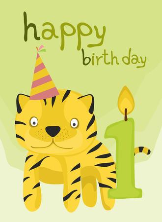 one year old: colecci�n de tarjetas animal, tigre de beb� feliz cumplea�os un a�o de edad