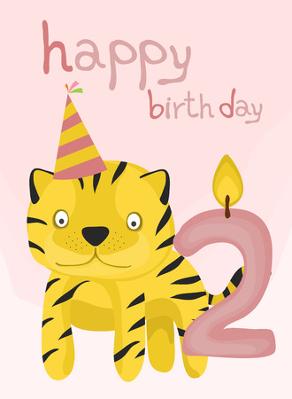 two year old: animal card collection, baby tiger happy birthday two year old