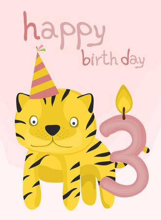baby tiger: raccolta della carta animale, bambino tigre buon compleanno tre anni Vettoriali