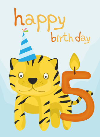 animal card collection, baby tiger happy birthday five year old