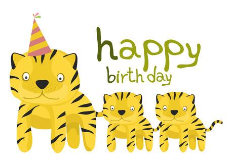baby tiger: raccolta della carta animale, bambino tigre buon compleanno