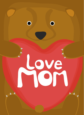 animal love collection, little bear love mom Illustration