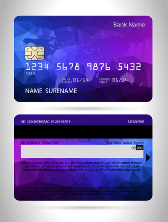 Templates of credit cards design with a polygon background Vector