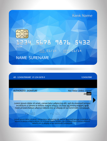 Templates of credit cards design with a polygon background Illustration