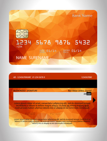 Templates of credit cards design with a polygon background   イラスト・ベクター素材