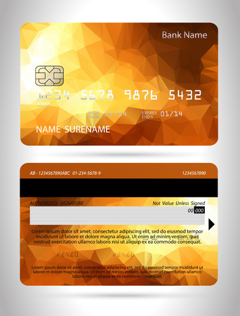 Credit card template with polygon design ,isolated