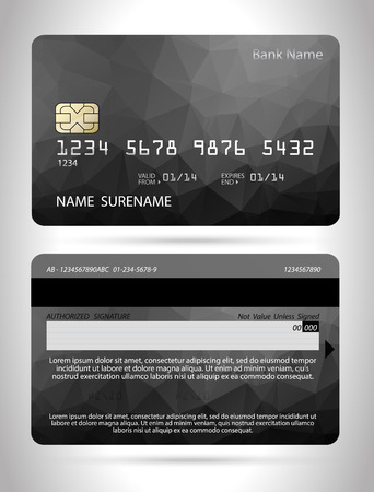 credit card: Credit card template with polygon design ,isolated