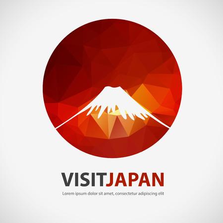 VISIT JAPAN, japan element with polygon background, vector Illustration