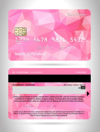 Template credit card with polygon background, Template Club card, vector