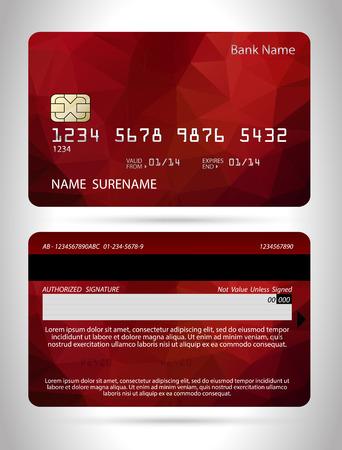 Template credit card with polygon background, vector isolated Illusztráció