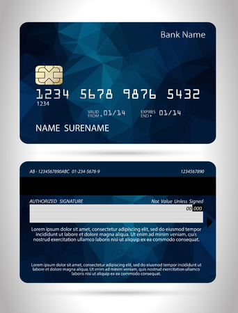 Template credit card with polygon background, vector isolated Ilustração