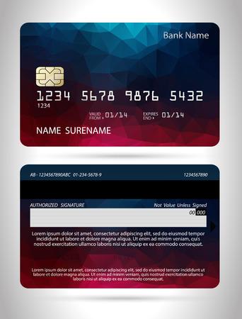 Modèle de carte de crédit avec polygone fond, vecteur isolé