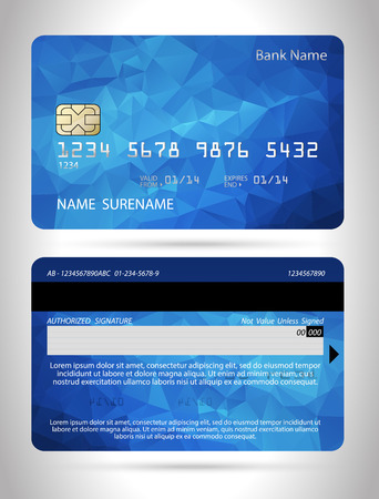 Template credit card with polygon background, vector isolated Imagens - 32261475