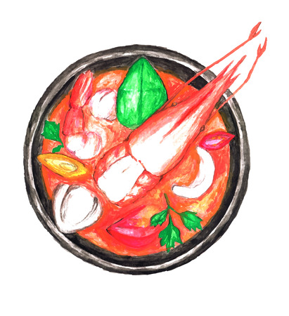 Watercolor paint Tom Yum Kung Thai spicy soup
