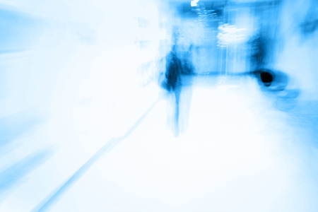 tones: City in movement, Abstract blurry background in blue tones Stock Photo