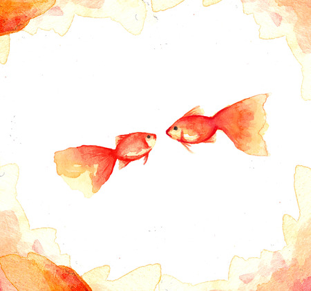 Fish collection, Watercolor paint high resolution