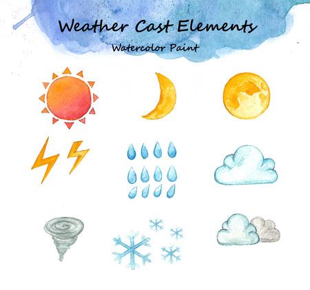 Weather cast elements, Watercolor paint high resolution Standard-Bild