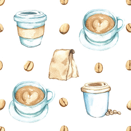 Seamless background coffee collection, Watercolor paint high resolution