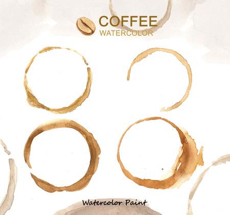 arte abstracto: Elementos de café, acuarela pintan alta resolución Foto de archivo
