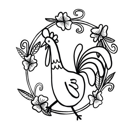 Rooster drawing with flower frame, isolated illustration Illustration