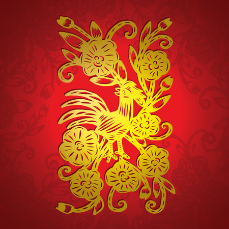 Chinese paper cutting, Flower paper cutting, isolated illustration Illustration