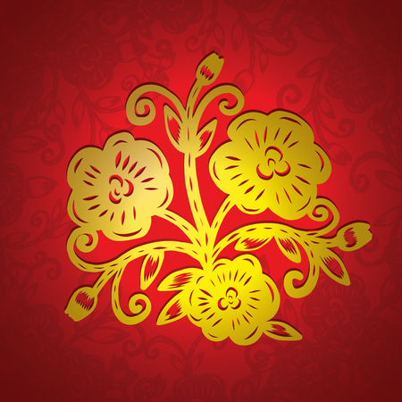 paper cutting: Chinese paper cutting, Flower paper cutting, isolated illustration Illustration