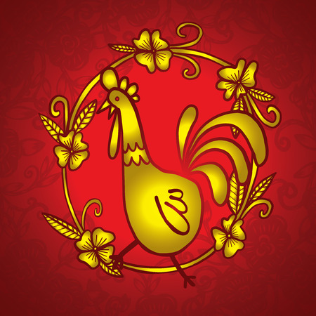 Rooster drawing with flower frame, isolated illustration Illusztráció