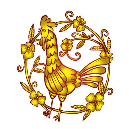 Hahn Zeichnung mit Blumenrahmen, isoliert Illustration Standard-Bild - 65026847