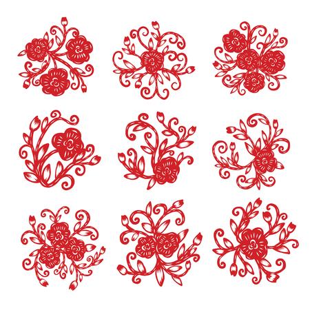 découpage de papier chinois, fleur découpage de papier, illustration isolé Vecteurs
