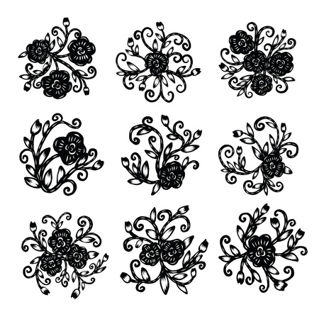 Chinese paper cutting, Flower paper cutting, isolated illustration Ilustrace