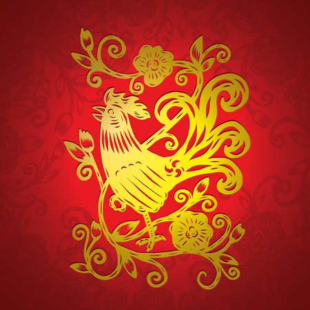 Rooster drawing with flower frame, isolated illustration Ilustrace