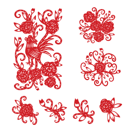 Chinese paper cutting, Flower paper cutting, isolated illustration Иллюстрация