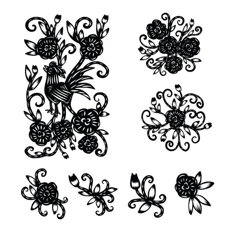 Chinese paper cutting flower paper cutting isolated illustration chinese paper cutting flower paper cutting isolated illustration stock vector 65026942 mightylinksfo
