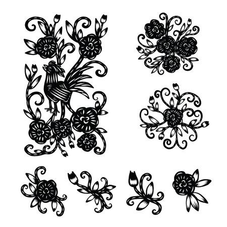 Chinesische Papier schneiden, Blumenpapierschneiden, isolierte Darstellung Standard-Bild - 65026942