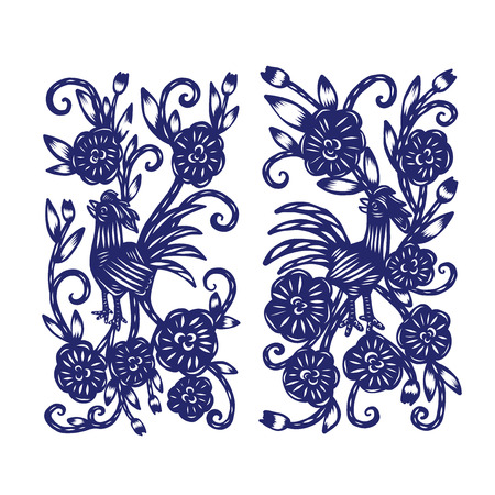 Chinese paper cutting, Flower paper cutting, isolated illustration Illusztráció