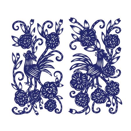 Chinesische Papier schneiden, Blumenpapierschneiden, isolierte Darstellung Standard-Bild - 65026950