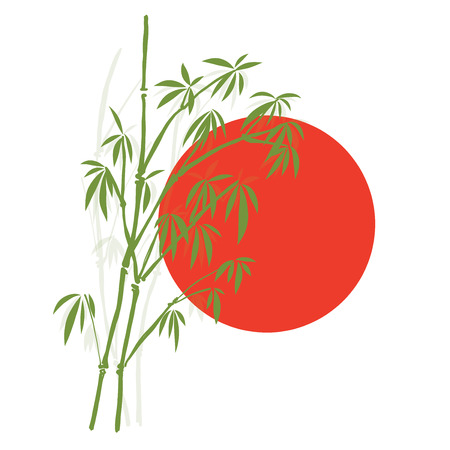 Silhouette Bamboo and Sun, Isolated on white background, high resolution