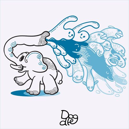 Illustration of elephant spraying water with his trunk.