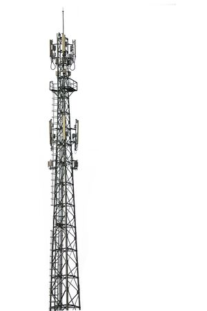 Cell phone tower isolated white background. Foto de archivo