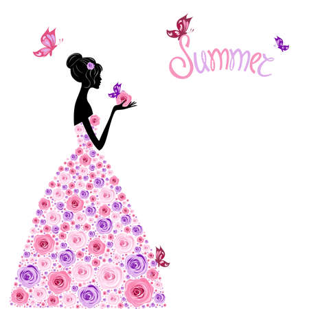 Colorful ornament girls flower, girls illustration for greeting cards associated with summer or the registration page in social network, summer theme Banco de Imagens