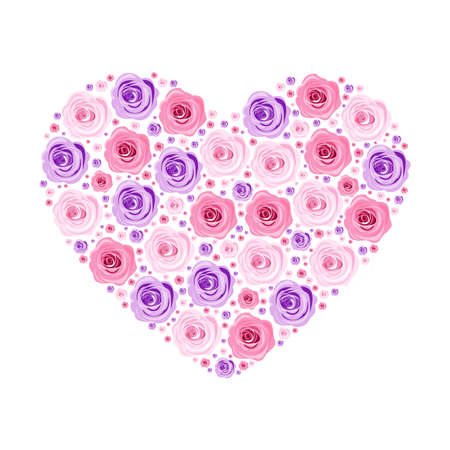 Illustrations of beautiful hand-drawn flowers and plants in the form of a heart. Best for Valentines Day, Wedding and birthday. Banco de Imagens