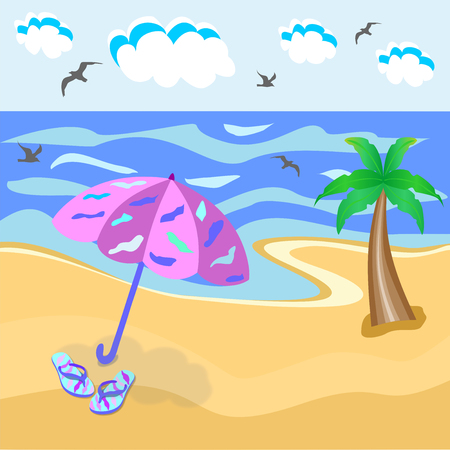 cartoon drawing of the sea, palm trees, umbrellas, palm