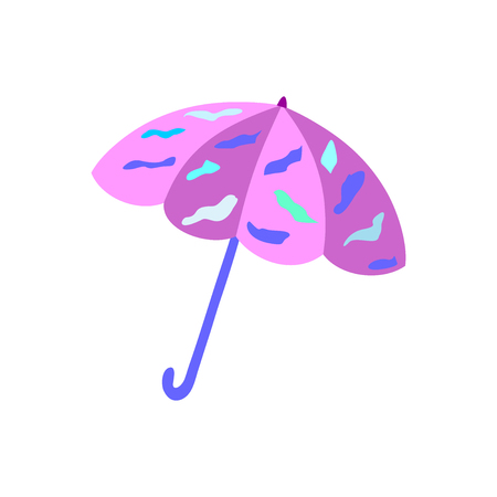 Illustration of beach umbrella pink with spots, folding, on white background. Illustration in JPEG format. Banco de Imagens