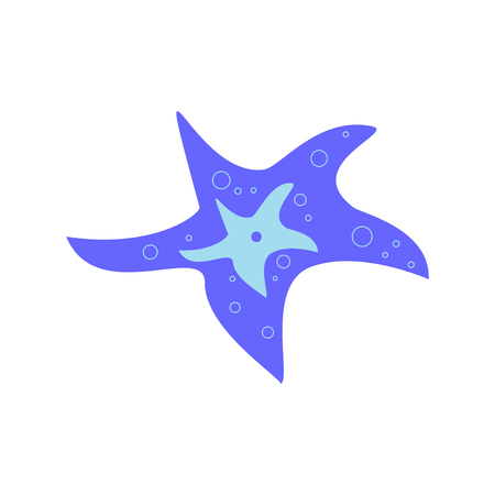 Blue vector starfish icon isolated on white background