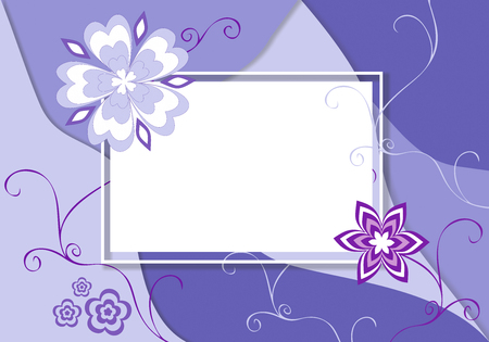 Floral spring summer card template. Square border frame decorated flowersin pastel colors on white background.